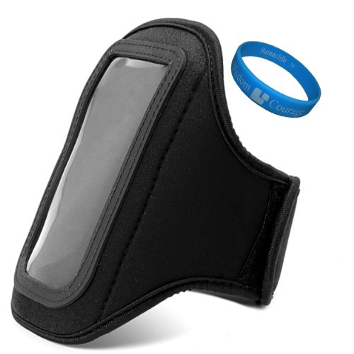 Jet Black Vg Water Resistant Hardcore Neoprene Workout Armband For Htc One Sv Android Smartphone + Sumaclife Tm Wisdom Courage Wristband