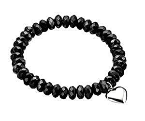 Black Faceted Bead Stretch Bracelet with Heart Charm in Sterling Silver