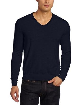 Calvin Klein Sportswear Men's Tipped Merino V-Neck Sweater, Navy Yard, Small