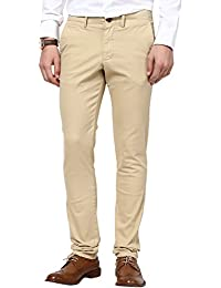 Web Jeans Light Brown Cotton Slim Fit Trousers For Men
