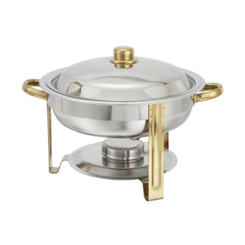 Winware 4 Quart Round Stainless Steel Gold Accented Chafer, Set of 2