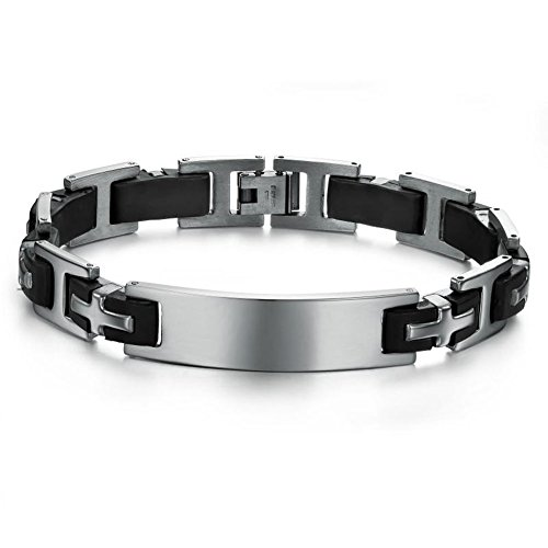 Bemaystar Men'S Titanium Stainless Steel Bracelet Chain Leather Wristband With Steel Clasp