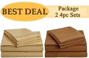 "King Size Bed Sheet Set, Best Deal!!! Package of ""2"" 4pc sets - Gold, Mocha"