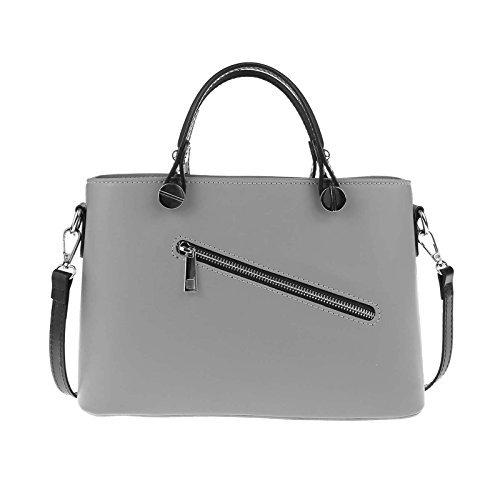 OBC Made in Italy Borsetta Da Donna vera pelle borsa Borsa A Tracolla - grigio-nero, Pelle, ca.: 30x21x11 cm (BxHxT), ca.: 30x21x11 cm (BxHxT)