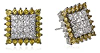 Sterling Silver Created Yellow and White Sapphire Square Stud Earrings from PAJ, Inc