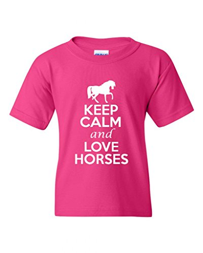 Keep Calm And Love Horses Animals Statement Novelty Youth Kids T-Shirt Tee (Medium, Hot Pink)