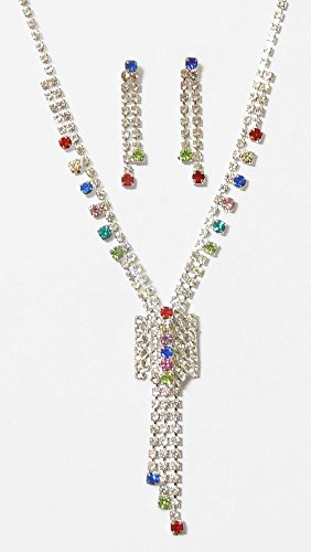 DollsofIndia White With Multicolor Stone Studded Necklace Set With Earrings - Stone And Metal - White
