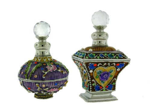 Set of Two Perfume Bottles set with Swarovski Crystals, Flowered, Hand Enameled, Pewter, Limited Edition, Glass Bottle, Manufacturer's Certificate of Authenticity, Purple, Pink, Brown, Gold, Blue, Yellow, Green, Amber