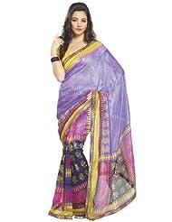 Fabdeal Designer Wear Light Purple & Pink Super Net Printed Saree (LFVSR8911VPS)