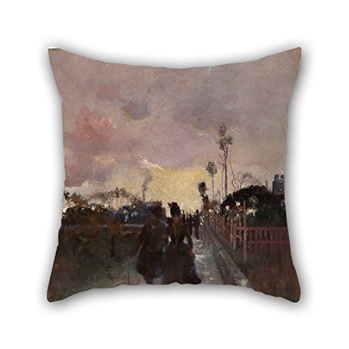 Uloveme Cushion Covers 16 X 16 Inches / 40 By 40 Cm(both Sides) Nice Choice For Sofa,dining Room,gril Friend,bar,kitchen,wife Oil Painting Charles Conder - Going Home (The Gray And Gold) (Gold Emblem Gummy Bears compare prices)