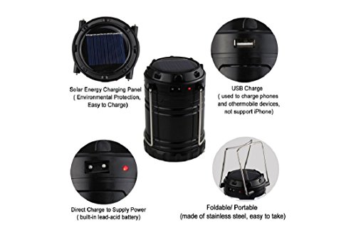 Bulfyss LED Solar Emergency Light Lantern + USB Mobile Charging point, 3 Power Source Solar, Battery, Lithium Battery, Travel Camping Lantern – (Blue, Black, Golden, Brown) – Color will be as per stock