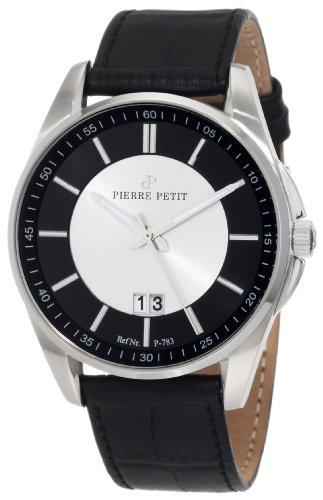Pierre Petit P-783A - Reloj analógico de cuarzo para hombre con correa de piel, color negro