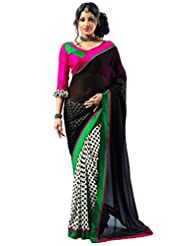 Admyrin Women's Georgette Black And White Saree