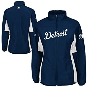Detroit Tigers Navy Ladies Authentic Double Climate On-Field Jacket by Majestic by Majestic