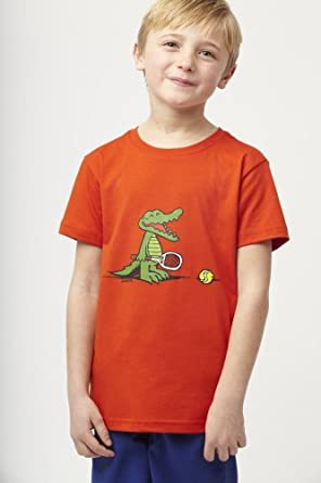 Buy Boy's Short Sleeve Crewneck Croc And Tennis Graphic T-shirt by Lacoste