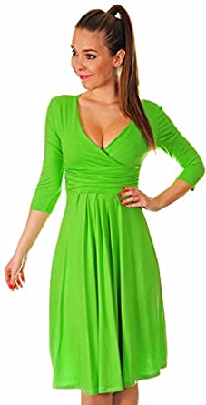 Glamour Empire Women's 3/4 Sleeve V-Neck Circle Jersey Dress 282