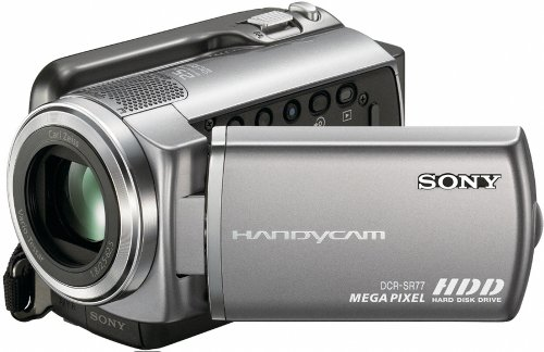 Sony DCRSR77E Handycam Camcorder With Built-in 80GB Hard Disc Drive - Silver (61hrs)