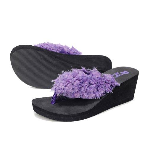 Toptie Women'S Bride Flip Flop Sandals With Wedge Heel Purple-S