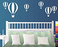 White Hot Air Balloon Various Size 6-Pack Fun Wall Decal Set from tellMeo