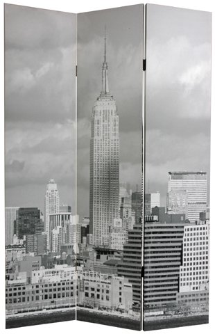 New York City Photograph Print Gift Idea - 6ft. Brooklyn Bridge & Empire State Bldg. Photo Print Folding Room Divider