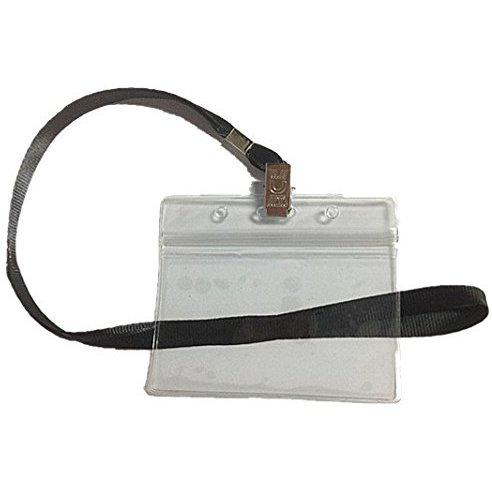 50 pcs clear plastic horizontal name tag badge id card holder 50 pcs black lanyard apparel. Black Bedroom Furniture Sets. Home Design Ideas