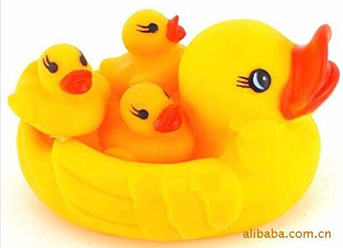 CL0075 4pcs/Set Mom And Baby Rubber Yellow Ducks Bath Toys, Hot Sale Duck Bath Toys - 1