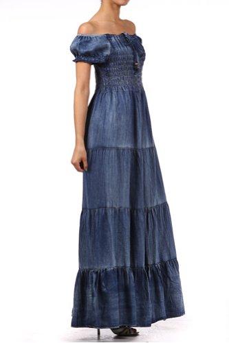 Kiwi Co. Audrina Cap Sleeve Smocked Tiered Denim Maxi Dress Denim Blue, One Size