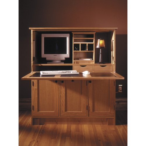 wood laptop stand plan home office hideaway computer desk