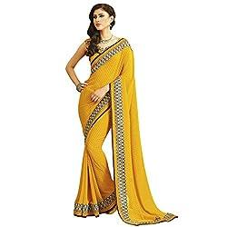Radhika Sarees yellow georgette printed border designer saree