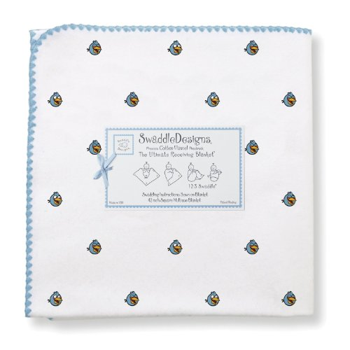 SwaddleDesigns Ultimate Receiving Blanket, Angry Birds Baby, Blue Bird