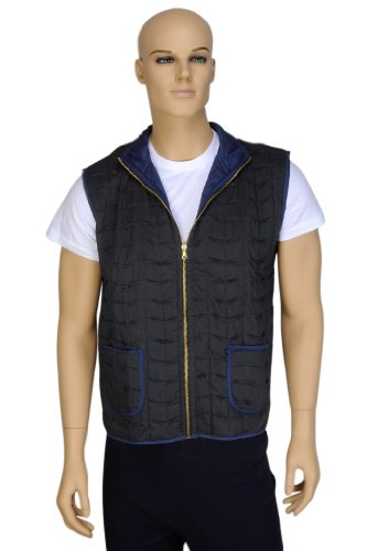 Designer Indian Handmade Light Weight Short Cotton Reversible Quilted Mens Jacket Size L