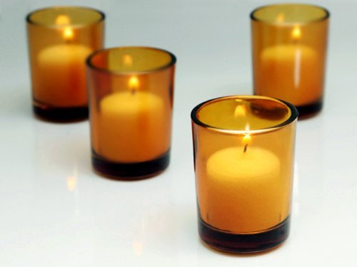 Amber Glass Votive Candle Holders - Case Of 72