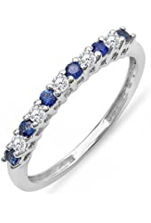 10K White Gold Round White Diamond & Blue Sapphire Anniversary Stackable Wedding Band