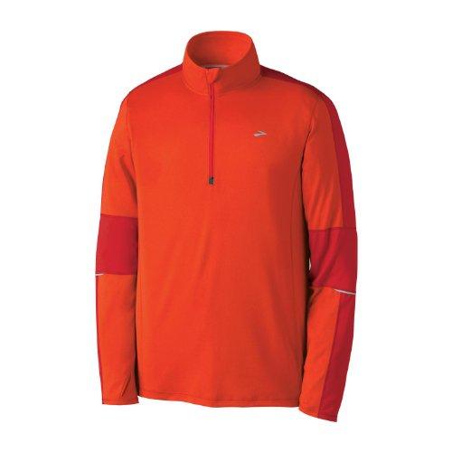 Brooks Brooks Men's Essential Run Long Sleeve 1/2 Zip Jacket, Torch/Lava, Medium
