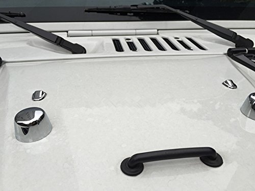 u-Box Silver Chrome windshield wiper nozzles Water Spray Hood Washer Cover Trim for 2007 - 2017 Jeep Wrangler-Pair (Jeep Wrangler Washer Nozzle compare prices)