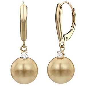 14k Yellow Gold 0.10tcw diamond 11-12mm Round Golden South Sea Cultured Pearl Lever-back Earrings
