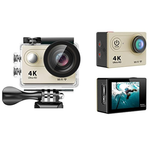 Sport Camera, TONSEE Waterproof H9 Ultra HD 4K WiFi 2.0 Inch Sport Camera Video Camcorder - Gold (High Speed Camera 5000 Fps compare prices)