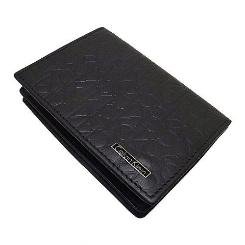 [カルバンクライン]牛革・カードケース/名刺入れ・ブランドロゴ型押し (黒ブラック)