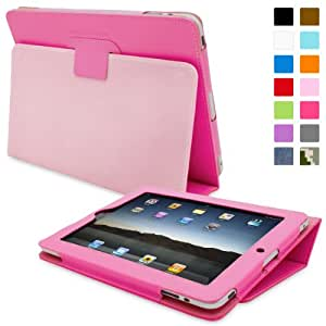 iPad 2 Case, Snugg™ - Smart Cover with Flip Stand & Lifetime Guarantee (Hot Pink Leather) for Apple iPad 2