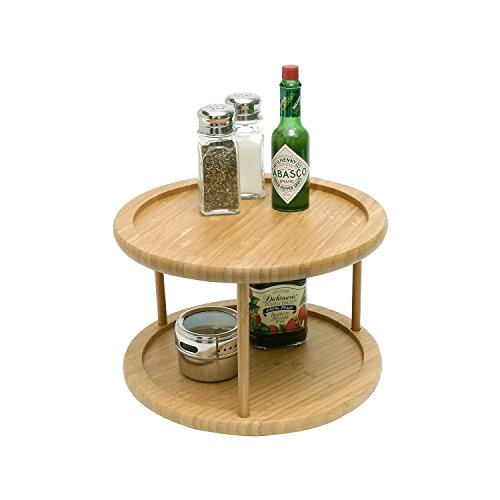 Intriom Bamboo Two Layer Turning Shelf 2 Tier For Kitchen spice rack Counter Top (Countertop Organizer Rack compare prices)