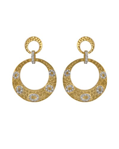 C.Z. Round Hammered Drop Vermeil Plated (.925) S/S Earrings (Holiday Special) WOW Get extra 30% off and Free Shipping when you add this item to your shopping cart