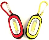 【2 Pack】Elecrainbow Magnetic Pocket Key Chain Flashlight/ COB Super Brightness with Carabiner, Red & Yellow