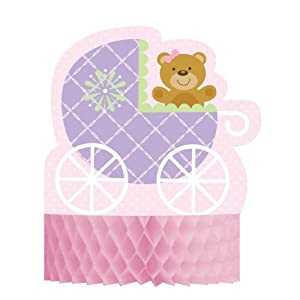 Creative Converting Baby Shower Teddy Baby Pink Honeycomb Centerpiece