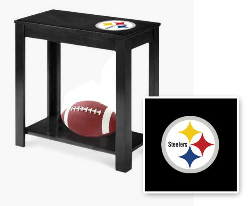 New Black Finish End Table Featuring Pittsburgh Steelers Nfl Team Logo