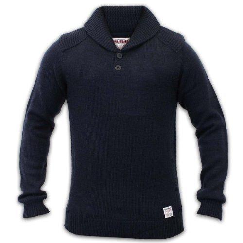 Maglione in lana da uomo, motivo: Cable Knit, Threadbare Patches Knitwear-Felpa Casual 038 scialle blu navy Large