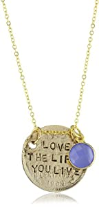 "Alisa Michelle ""Words To Live By"" Blue Onyx 14k Gold-Plated Double-Sided Coin Charm Necklace, 18"""