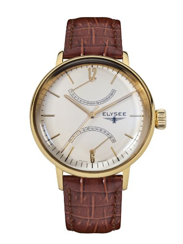 ELYSEE Made in Germany Sithon 13271 42mm Gold Plated Stainless Steel Case Brown Calfskin Mineral Men's Watch