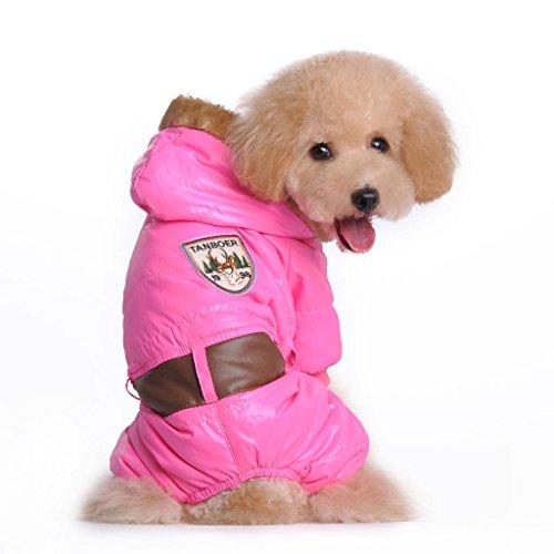 LESYPET Snowsuit Dogs Winter Coat Dog Winter Apparel --Pink Medium