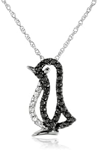 XPY 14k White Gold Black and White Diamond Penguin Pendant Necklace (.15cttw, Black Diamonds and I-J Color, I2-I3 Clarity), 18""