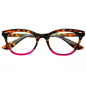 Eyeglass Frames Two Tone : Amazon.com: Two Tone Womens Retro Vintage Style Clear Lens ...